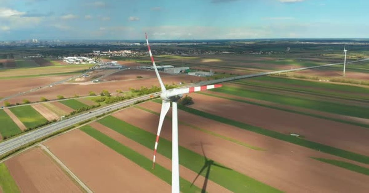 Aerial View of Wind Turbines Farm in Field. Austria. Drone View on Energy Production