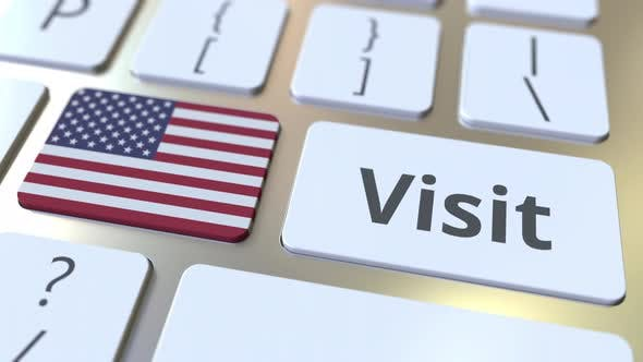 Thumbnail for VISIT Text and Flag of the United States on Keyboard
