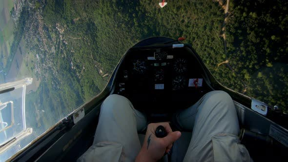 Thumbnail for POV of Pilot Flying Small Private Jet or Glider