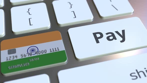 Thumbnail for Bank Card with Flag of India As a Keyboard Key