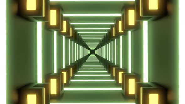 Tunnel with Square Shapes in Neon Lights