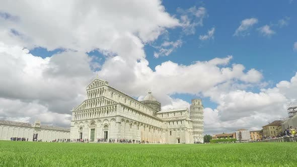 Thumbnail for Thousands of Tourists Visiting Tower of Pisa and Cathedral, Clouds Timelapse