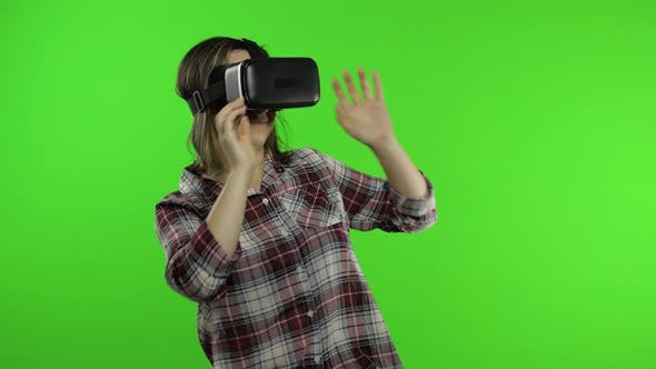 Thumbnail for Girl Using VR App Helmet To Play Simulation Scary Game. Woman Watching Virtual Reality 3D Video