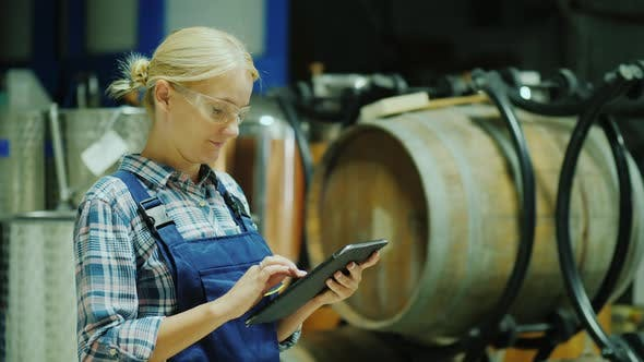 Thumbnail for A Woman Uses a Tablet in a Winery Workshop, in the Background Are Wooden Barrels