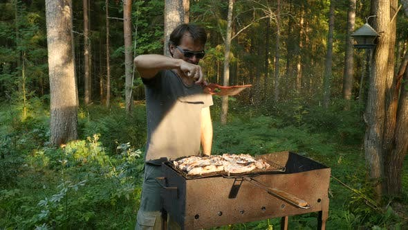 Thumbnail for Man Prepares Grilled Meat, Cooking Summer Bbq Grill Steak