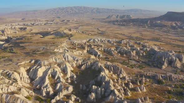 Cappadocia Aerial Drone View Sandy Volcanic Formations and Ancient Caves