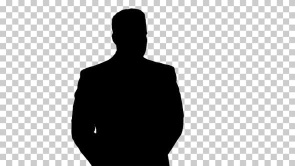 Thumbnail for Silhouette Businessman walking and looking around, Alpha Channel