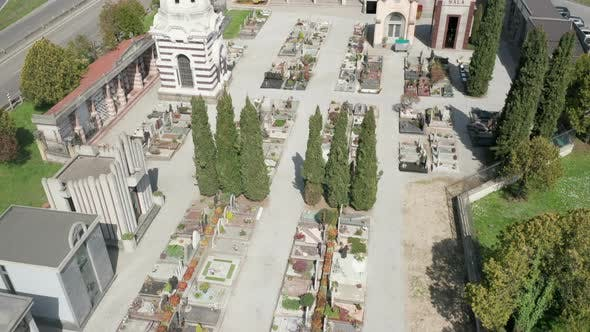 Thumbnail for Cemetery Small Aerial View Sunny Winter