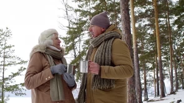 Thumbnail for Älteres Paar sprechen und trinken heißen Tee während der Winterspaziergang