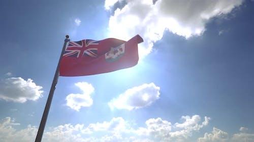 Bermuda Flag on a Flagpole V4 - 4K