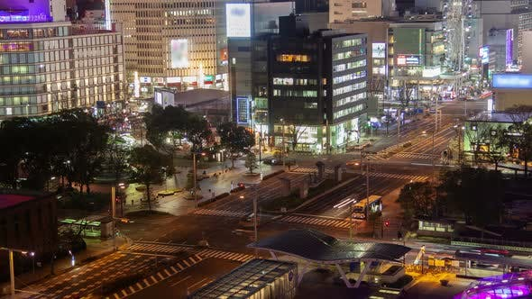 Thumbnail for Nagoya City Main Street Traffic at Night Timelapse