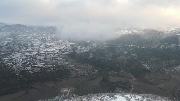 Cloudy Winter Forest Mountains Aerial Drone