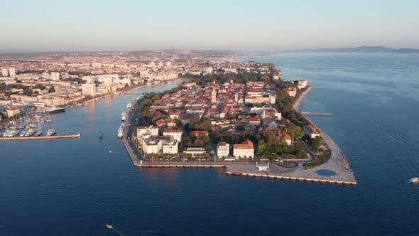 Drone Footage Aerial View of Zadar Marina Croatia