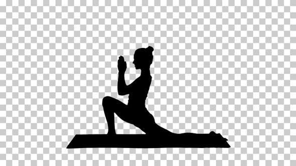 Thumbnail for Silhouette Sporty attractive girl practicing yoga standing
