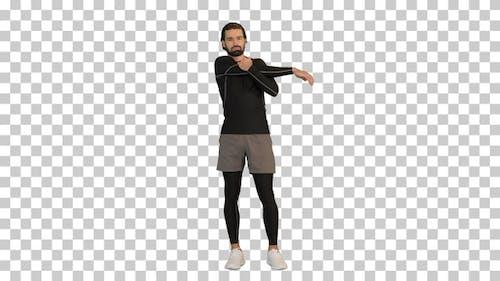 Fitness-Mann macht Aufwärmübungen, Alpha Channel