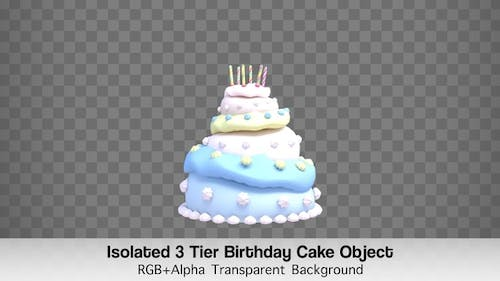 Isolated 3 Tier Birthday Cake Object