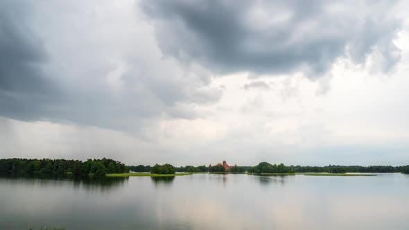 Cover Image for Rain clouds over the lake, Trakai Castle
