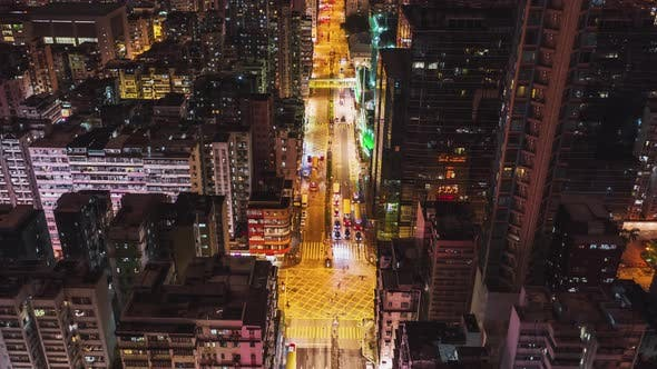 Thumbnail for Hyperlapse time-lapse of car traffic on road and people walking at night in Hong Kong city downtown
