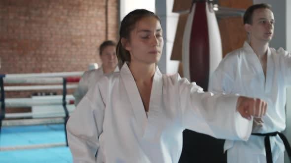Four Judokas Warming up Together