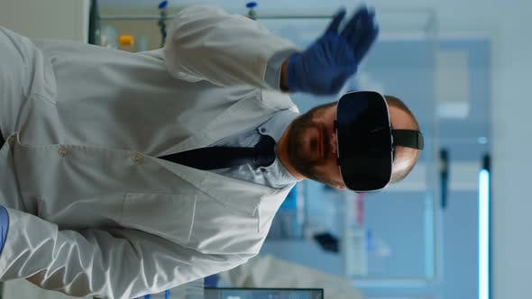 Vertical Video Professional Scientist Using Medical Inovation in Lab