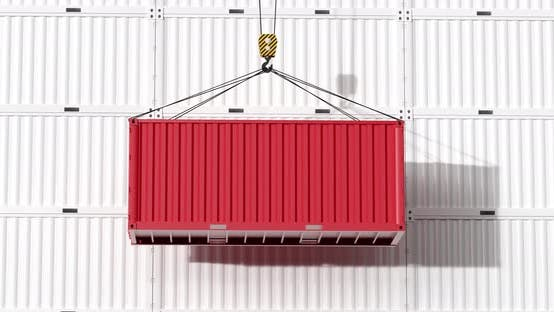 Thumbnail for Red container rising with white background.