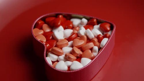 Rotating stock footage shot of Valentine's Day candy