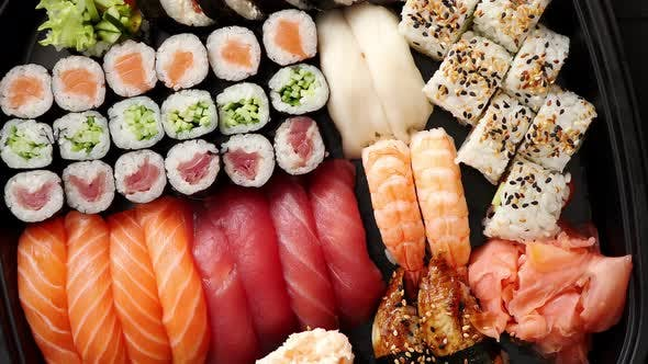 Thumbnail for Close Up of Various Types of Japanese Fresh Prepared Sushi.