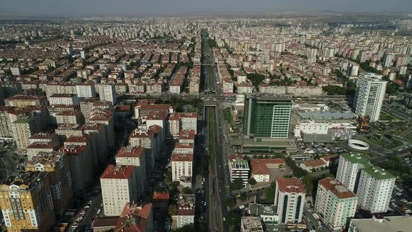 Aerial View On Modern Road With Buildings