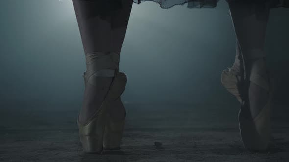 Thumbnail for Close Up of Legs Young Ballerinas in Pointe Shoes