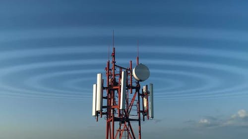 Aerial View Around of the Cellular Telecom Tower