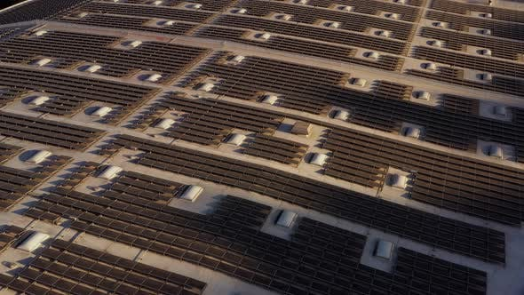 Thumbnail for Aerial shot of solar panels covers the roof çof a large building