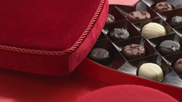 Valentine's Day heart shaped candy box full of chocolates