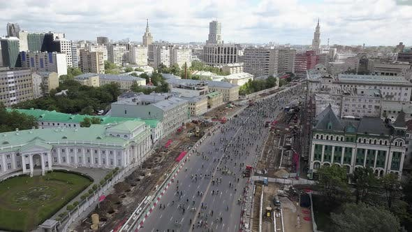 Thumbnail for Bicycle Parade in the Street of Moscow, Russia. Aerial View