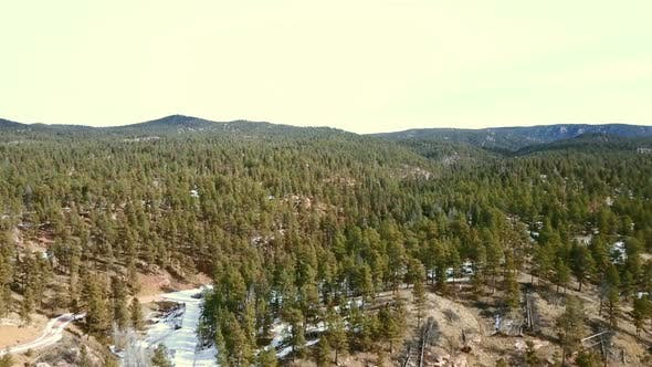 Thumbnail for Aerial view of Pikes National Forest in the Winter