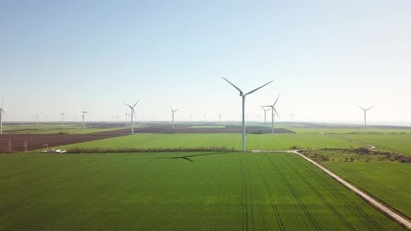 Wind power station on the field, Aerial view from drone