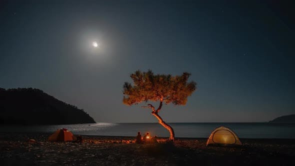 Thumbnail for Camping By the Sea at Night
