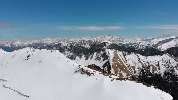 Cover Image for Panoramic View From the High Mountain To Snowy Peaks in Switzerland Alps. Rochers-de-Naye.