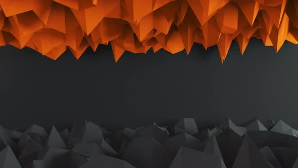 Thumbnail for Abstract Low Poly Dark And Orange Background 4K