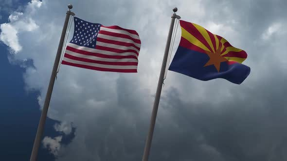 Waving Flags Of The United States And Arizona  State Flag 2K