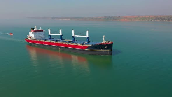 Thumbnail for Aerial Shot of Cargo Floating in Sea