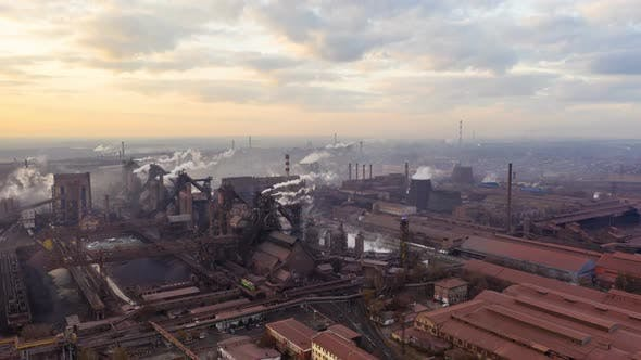 Thumbnail for Aerial Hyperlapse Time Lapse, Steel Factory Pipes During Sunrise Time