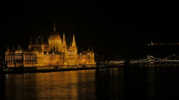 Thumbnail for Building of parliament in Hungarian capital Budapest from Margit bridge 4K 3840X2160 UltraHD footage