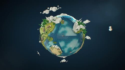 Low Poly Earth - Seamlessly Looped Rotation