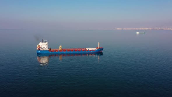 Empty Cargo Ship in the Port
