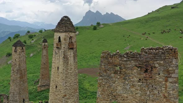 Medieval Tower Complex in Mountains