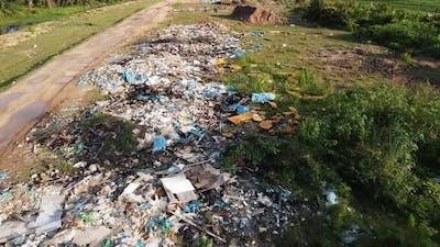 Garbage plastic dump heap.