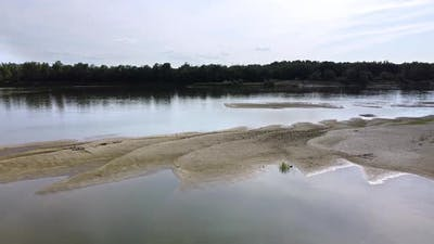 Beautiful river with a sandy island