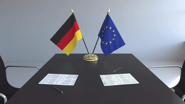 Thumbnail for Flags of Germany and the EU and Papers on the Table