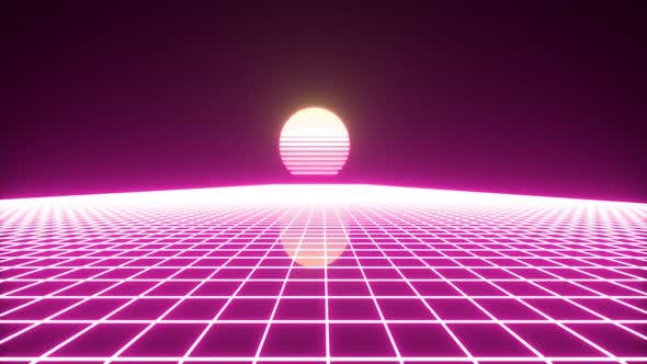Synthwave Wireframe Net And Stars 80s Retro Futurism Background HD