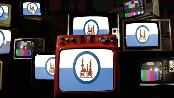 Thumbnail for Flag of Cairo, the capital of Egypt, and Retro TVs.